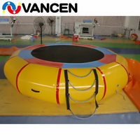 Yellow 3m diameter water inflatable bouncer sea jumping bed customized logo inflatable trampoline for lake water game