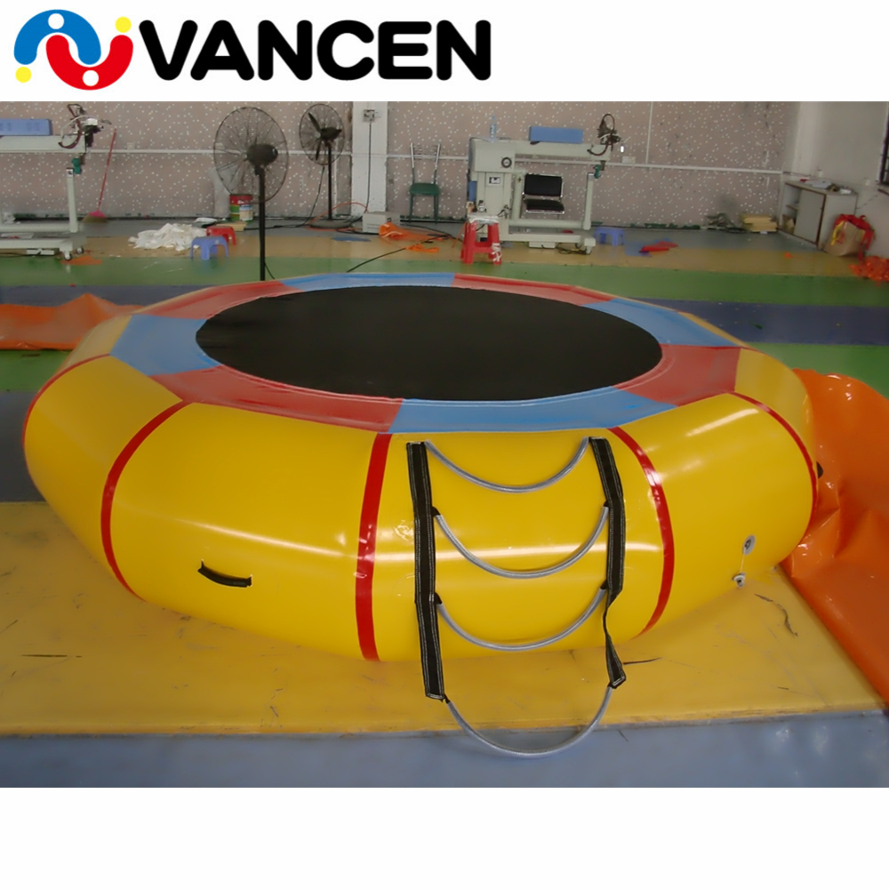 Yellow 3m diameter water inflatable bouncer sea jumping bed customized logo inflatable trampoline for lake water game inflatable water game inflatable water trampoline for kids game