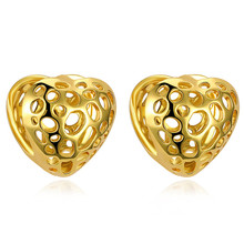 Charm Cheap Gold Color Earrings Fashion Jewelry Heart Strawberry Shape Stud Earrings For Women Hollow Female Earrings Jewelry