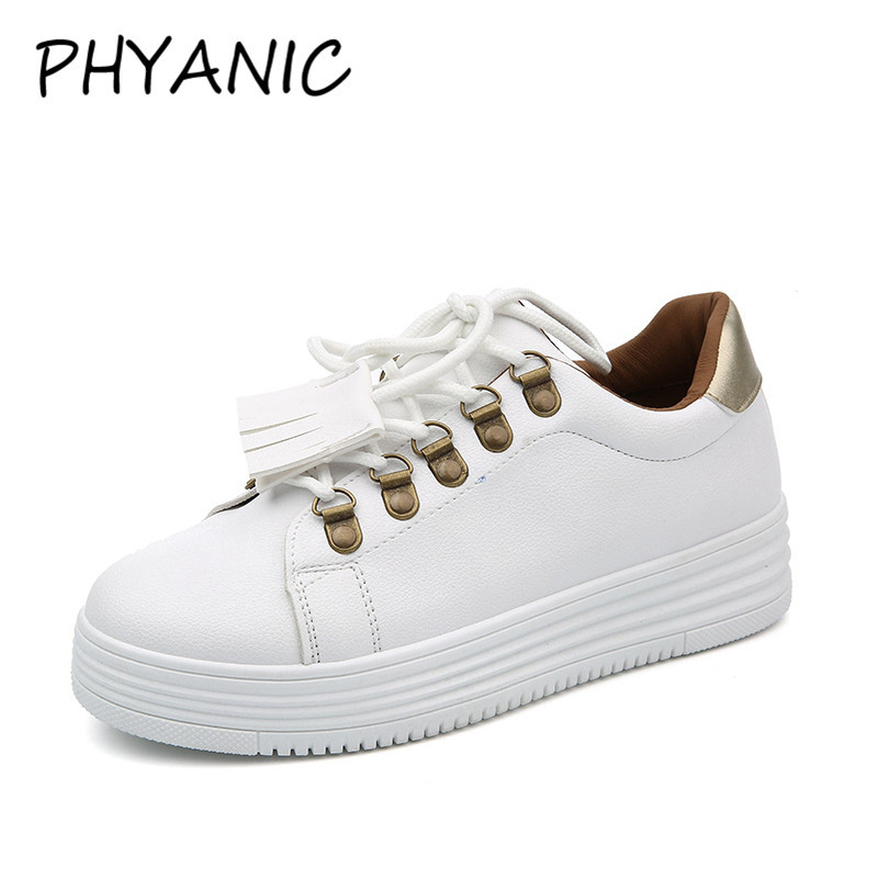 PHYANIC 2018 Spring New Women White Shoes Autumn Soft Comfortable Casual Shoes Flats Platform Sneakers For Woman CFY3192 phyanic 2017 summer gladiator sandals straw platform creepers silver shoes woman buckle casual women flats shoes phy4046