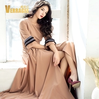 VERRAGEE Brand 2017 New Autumn Winter Women Maxi Dress Long Female Tassel Sleeve Retro Sexy Split