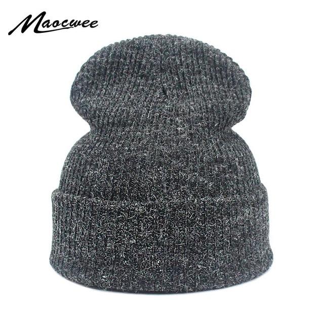 b41bb293d5d61 Autumn Winter Women Men Crochet Knitted Beanie Hat Warm Soft Solid Color  Black Pink Gray Knit
