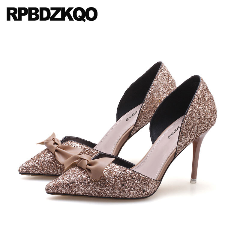 Glitter Bow Pointed Toe Pumps Suede Bride Bling Wedding Shoes High Heels Dress Sandals Prom 2018 Ladies Bridal 3 Inch Stiletto high quality suede wedding party dress shoes women pointed toe stiletto brand pumps bow fringe embellished high brands