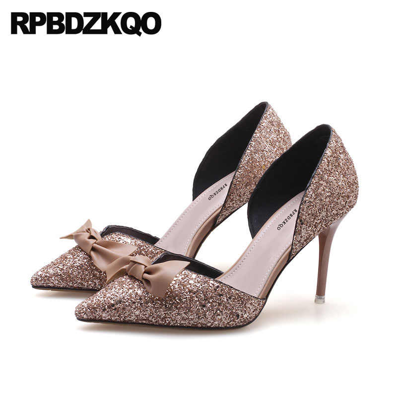fbf82bbf66b Glitter Bow Pointed Toe Pumps Suede Bride Bling Wedding Shoes High Heels  Dress Sandals Prom 2018