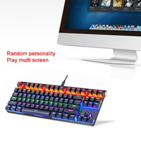 New Mechanical Keyboard Bluetooth Wired Dual mode with LED Light 87 Keys Keyboard for Windows iOS Android EM88