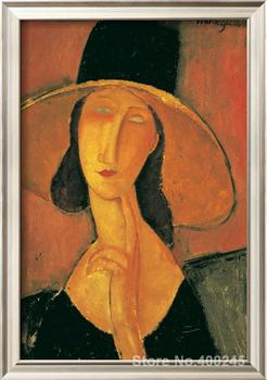 Art Gift Portrait of a Woman Jeanne Hebuterne in Large Hat c. Amedeo Modigliani Painting on Canvas High quality Hand painted image