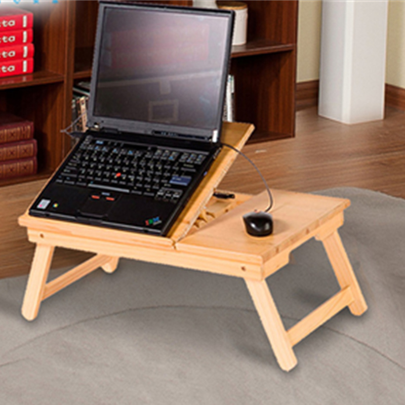 Adjustable Laptop Lipat Meja Meja Komputer Kayu Portabel