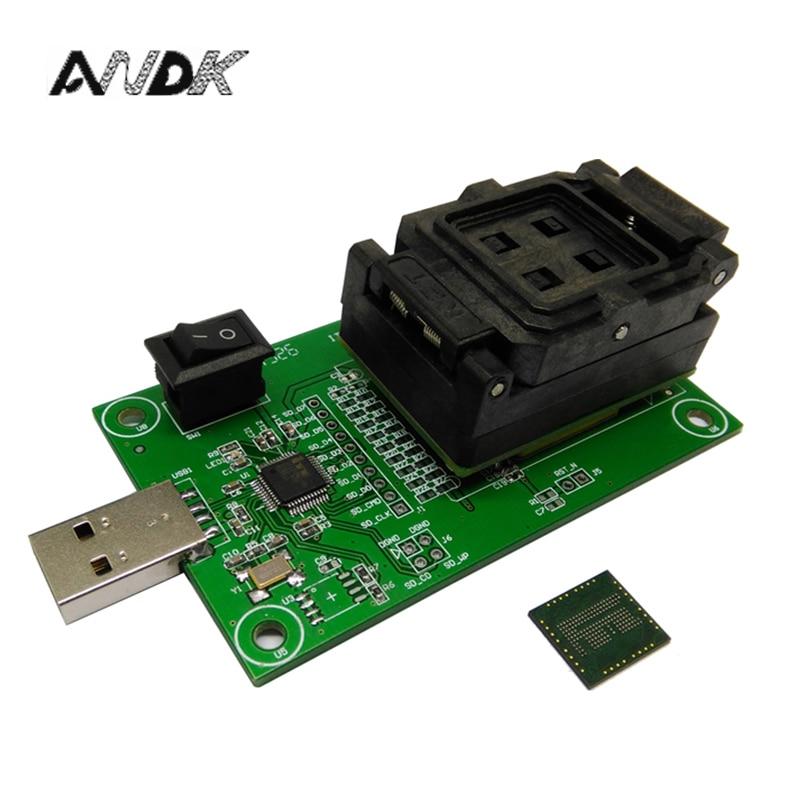 eMCP162 Socket to USB, for BGA162 BGA186 testing, Chip Size 11.5*13mm, eMCP programmer Clamshell Test Socket For Data Recovery clamshell qfp144 lqfp144 tqfp144 su h8s2505 tq144 programmer adapter for lp programmer