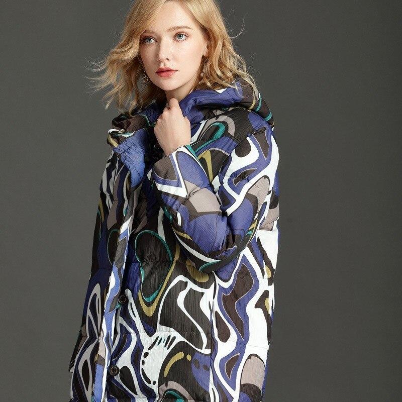 À Duvet Imprimé Femelle 90 Nouveau Capuchon Blanc Femmes Single Canard Breasted 2019 Streetwear Manteau Chaud Doudoune Long De 1 Marque Survêtement w6x6IYq0