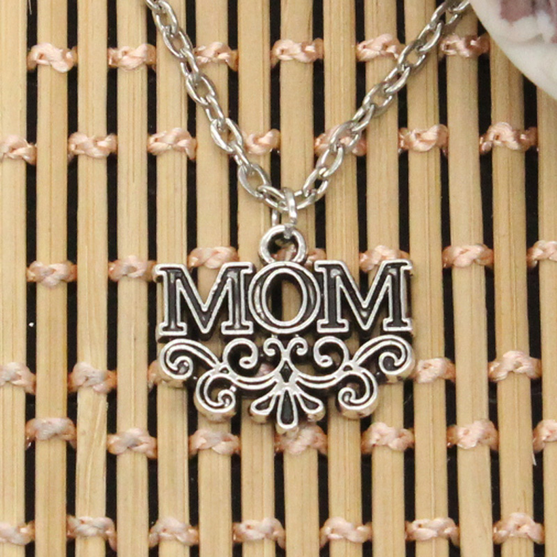 new fashion mama mother mom flower Pendants round cross chain short long Mens Womens DIY silver necklace Jewelry Gift image