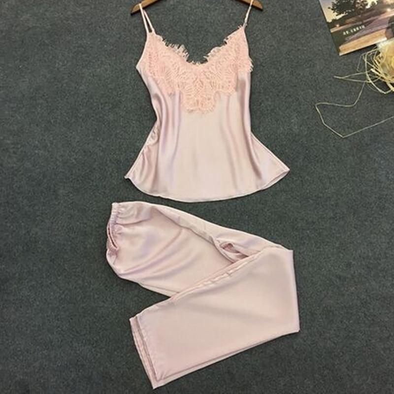 Women's Sleepwear Sexy Satin Pajama Set V-Neck Lace Patchwork Blue Pajamas Sleeveless Camis Tops and Long Pants Set Pijama Mujer