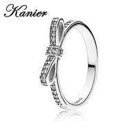 KANIER S925 Pure Silver Pandor Original Copy Has Logo Sparkling Silver Bow PANDORS Rings Women Jewelry