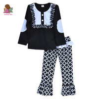 2015 Fashion Childrens Girls Boutique Outfits Clothing Sets Black And White Clothes Set F028 EE