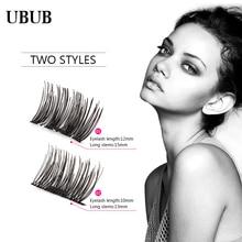 100% Handmade Hot Sales Magnetic False Eyelashes Soft Mink Magnet Fake Eyelashes Natural Eye Lashes Extension 4 Pcs Makeup Tool