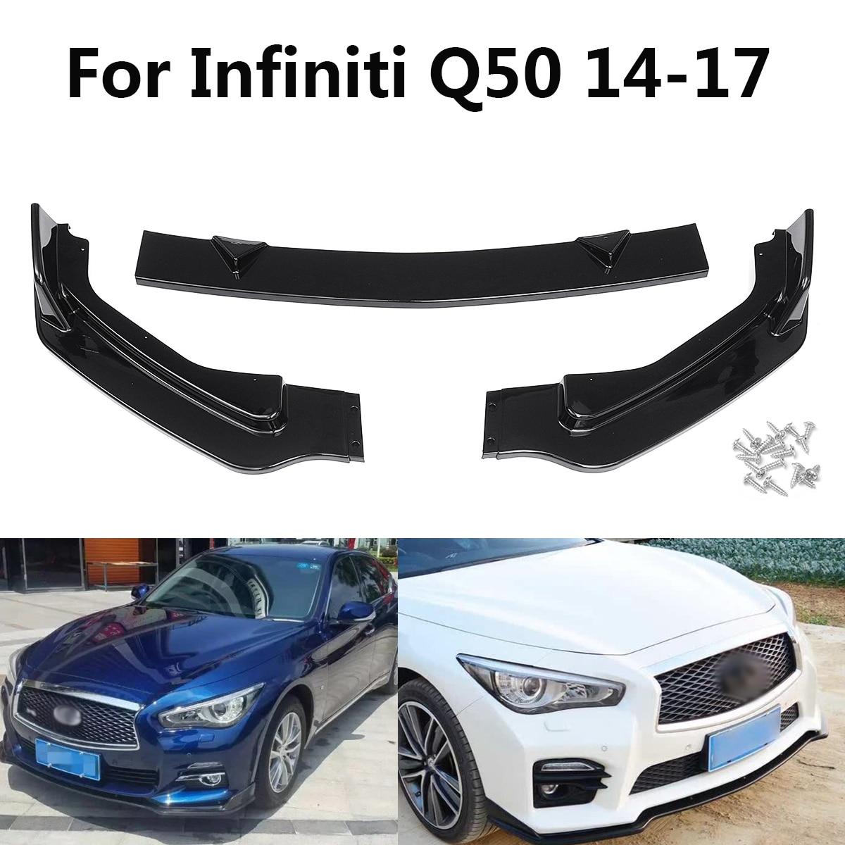 Nouveau 3 PCS PP Modèle De Base Pare-chocs Avant Lip Spoiler Brillant noir pour Infiniti Q50 14-17 Auto Extérieur Pièces Styling Moulures Spoiler