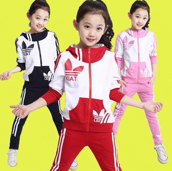 ФОТО High Quality 2015 New Spring Autumn Baby Toddler Girls Boys Sport suits 2 piece girls sports suit set Baby girls Tracksuits