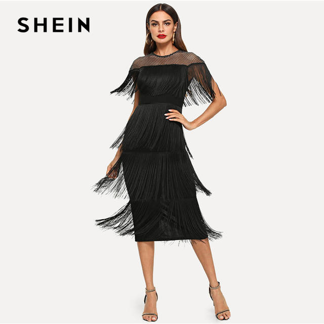 e563a945141f0 SHEIN Black Highstreet Party Going Out Elegant Sheer Yoke Layered Fringe  Detail Dress 2018 Autumn Modern Lady Women Dresses