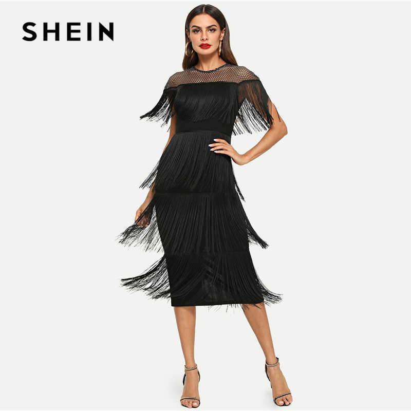 9fa91c838ad2 ... SHEIN Black Highstreet Party Going Out Elegant Sheer Yoke Layered  Fringe Detail Dress 2018 Autumn Modern