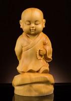 TNUKK Delicate Lovely Chinese Traditional Handicrafts Boxwood Statue Little Monk.