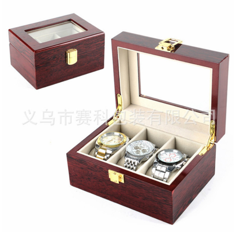 все цены на High quality wooden table box 3 grooved roll watch box for portable travel bag storage