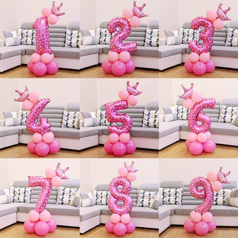 QIFU 17Pcs Number Air Baloon Birthday Balloons Birthday Party Decorations Kids Foil Ballon Figures Baloon Balls Babyshower