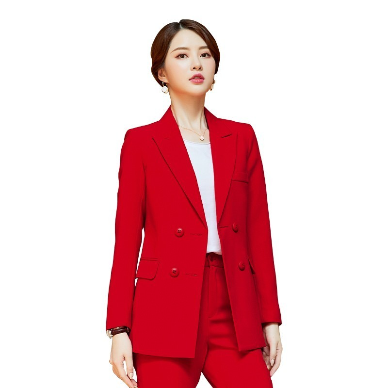 Fashion Red 2019 Autumn Winter Formal Business Suits With Pencil Pants And Jackets Coat For Ladies Work Wear Pantsuits Blazers