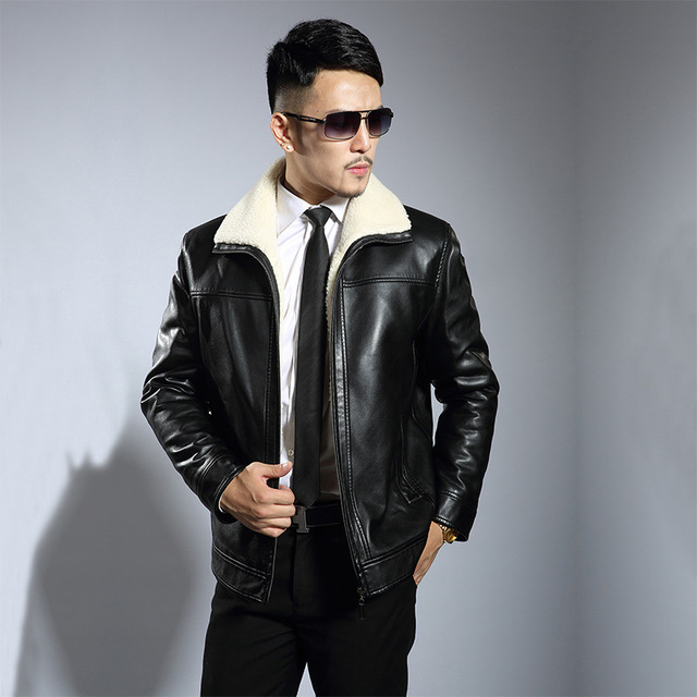 Winter PU Leather Jacket plus thick velvet Men Coats Cotton Lined Motorcycle Jackets Fleece Fur Collar Blouson Outfit