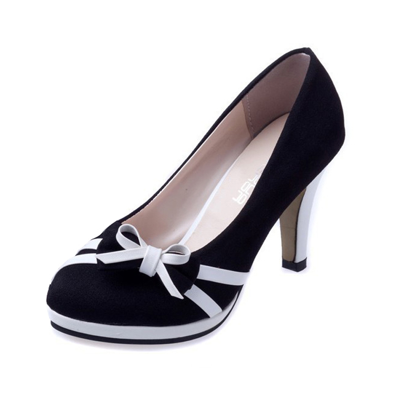 Hot Fashion New women bow round waterproof heels spell color vintage bow tie casual pumps shoes Black Blue