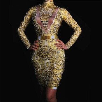 Glisten Gold Rhinestones Stretch Dress Women's Birthday Party Dance Clothes Nightclub DJ Celebrate Outfit Female Singer Dresses
