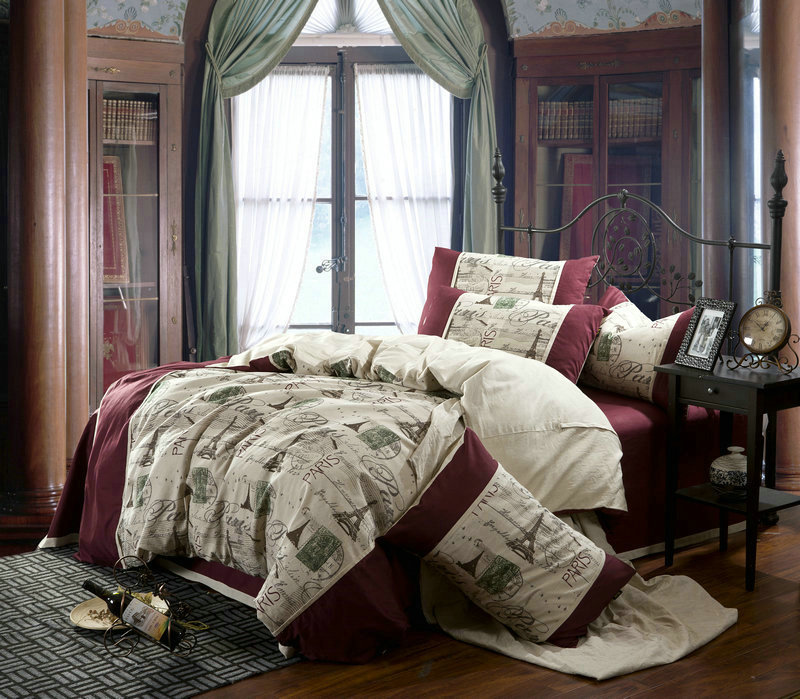Linen vintage paris Eiffel Tower bedding comforter set