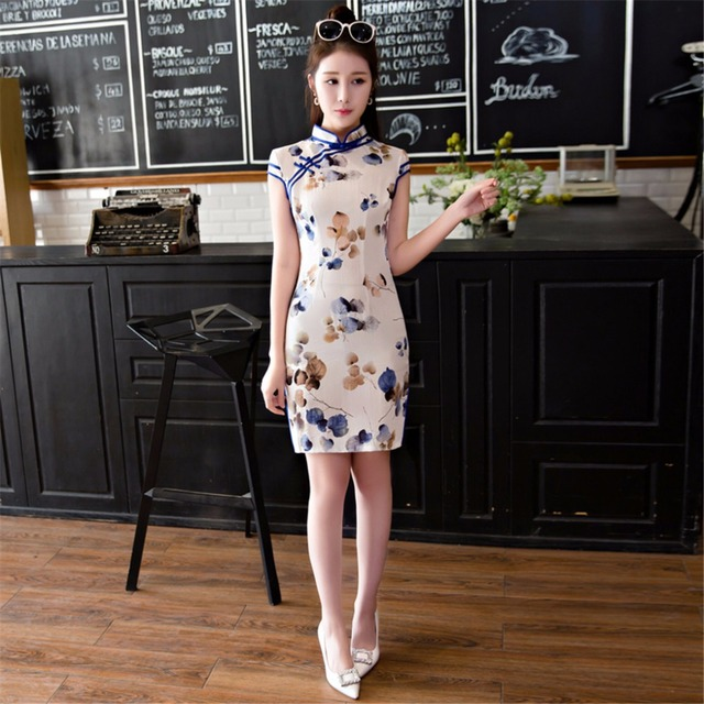 4e72773f539e1f Free Shipping Faux Silk Qipao Chinese Traditional Clothes Cheong-sam Dress  For Women Oriental Dresses