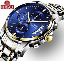 Hot Selling Luxury OLMECA Quartz Watch Relogio Masculino Waterproof Watches Fashion Wrist for Men Stainless Steel Blue