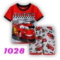 2016 Мальчик одежда Набор для Младенца Лета Мальчиков пижамы костюм детские популярные Мультфильм Автомобиль Дети пижамы хлопка футболки + шорты
