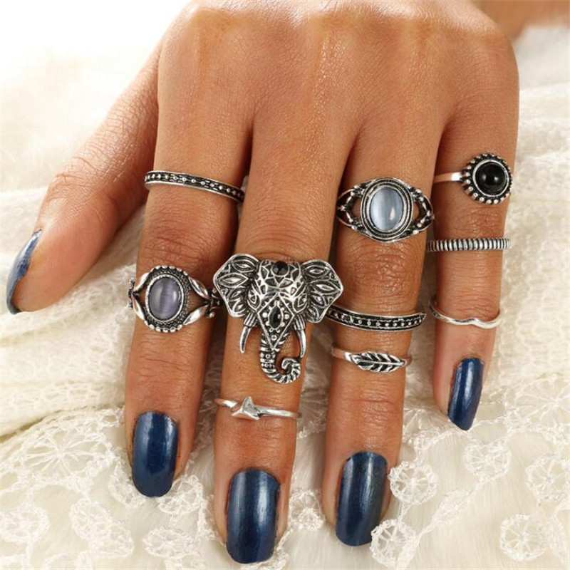 GIVVLLRY Antique Silver Color Elephant Rings Set Fashion Indian Jewelry 10 pcs/set Bohemian Opal Stone Geometric Rings for Women