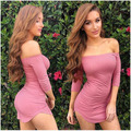 fashion women dress sexy pencil patchwork three quarter above knee slash neck women dresses vestido