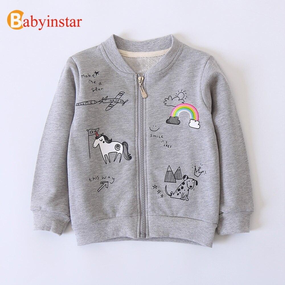 Babyinstar/толстовки для девочек и мальчиков 2018 весна и осень дети милые с принтом на молнии Дизайн пальто Детская верхняя одежда для девочек и м...