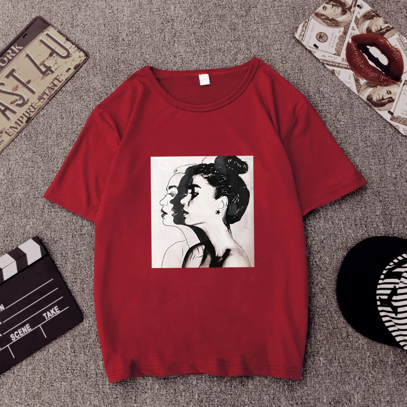 Girls Print Short Sleeve O Neck Cotton Spandex Top Slim Fit Soft T-shirt 33