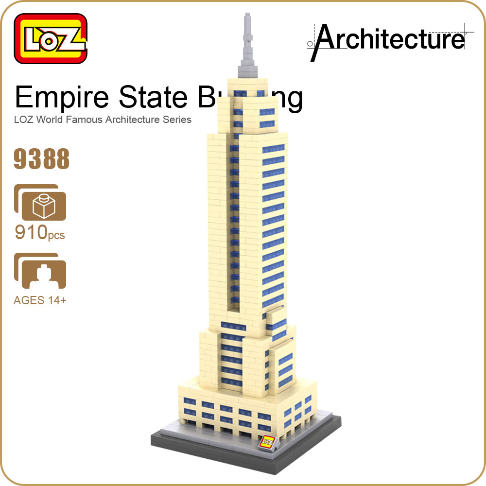 LOZ Blocks Architecture Model Building Bricks City Empire State Building Toy Forge World DIY Educational Toys For Children 9388 loz architecture space shuttle mini diamond nano building blocks toys loz space shuttle diy bricks action figure children toys