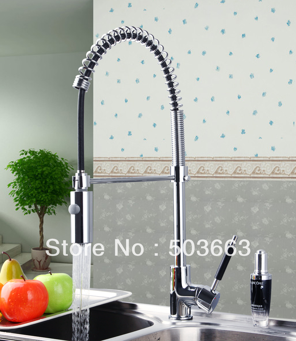 New Polished Chrome Brass Water Kitchen Faucet Swivel Spout Pull Out Vessel Sink Single Handle Deck Mounted Mixer Tap MF-296 good quality wholesale and retail chrome finished pull out spring kitchen faucet swivel spout vessel sink mixer tap lk 9907