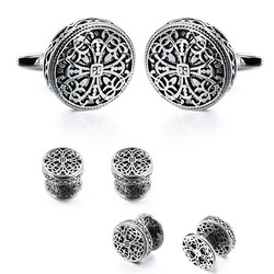 HAWSON Antique Silver Suit Shirt Cufflinks Flower Pattern Cuff Links Studs Sets Gentlemen Dress Accesories
