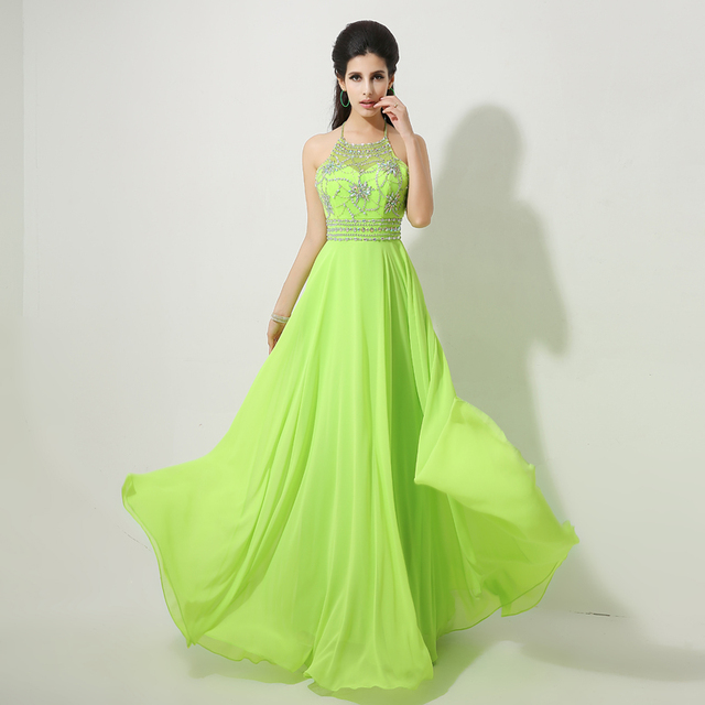 Neue Ankunft Perlen Halfter Lime Green Prom Dresses Lange Chiffon ...
