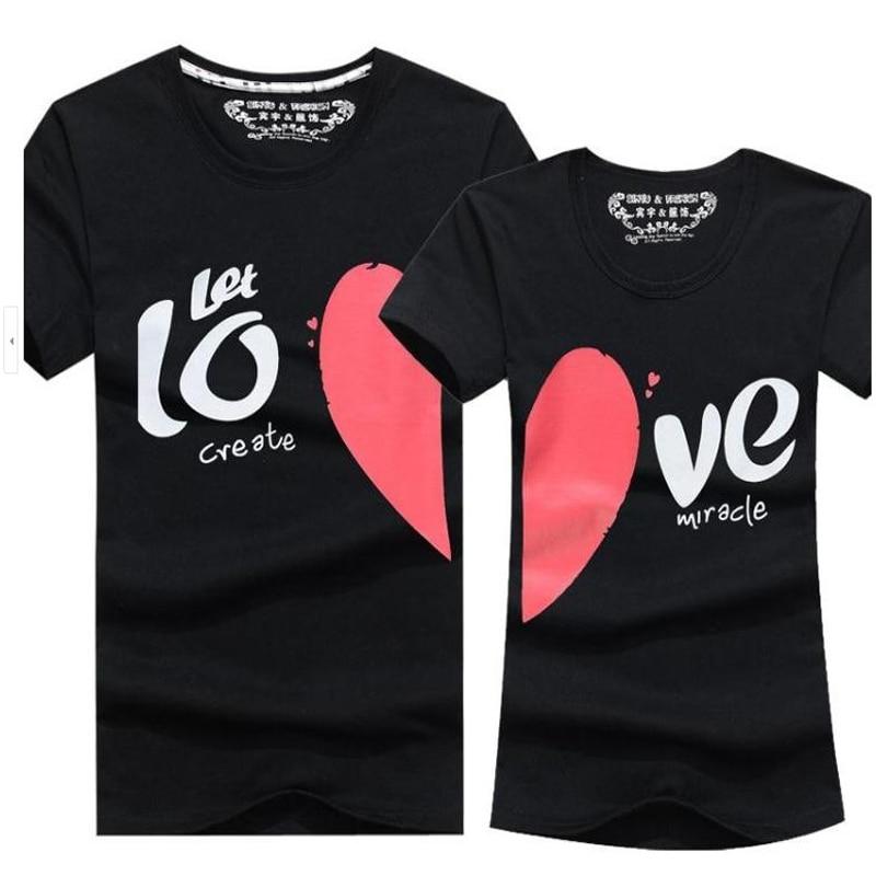 Couple Clothes Men & Women Heart LOVE Print T-Shirts Cotton Short Sleeve Lovers T Shirt For Couples Camisetas Summer Unisex Tops