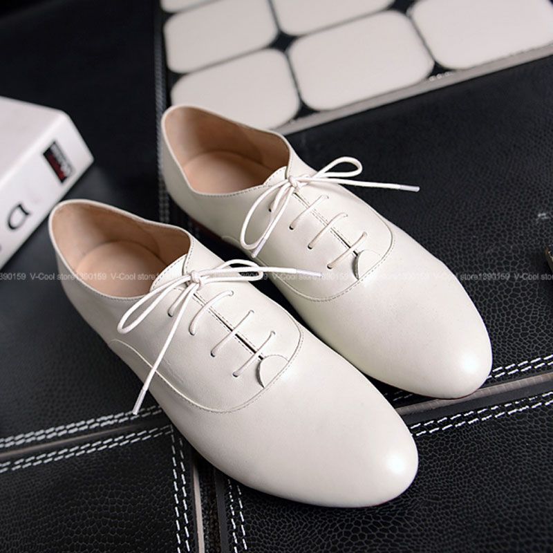 ФОТО Women British Style Natural Leather Oxford Shoes 2017 Woman Ankle Luxury Ladies famous Autumn Oxfords Girls Footwear Zapatos