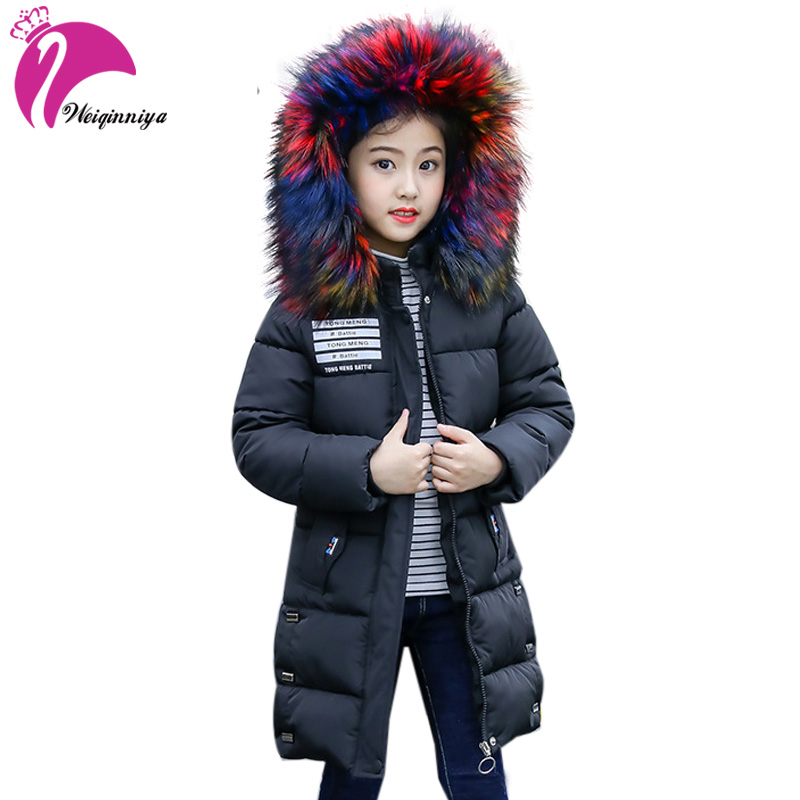Winter Down Coat For Girls New 2018 Fashion Fur Hooded Long Zipper Jackets Casual Children Cotton Warm Clothing Outwears vtronhye flower
