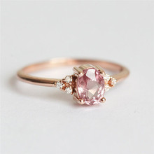 ROMAD Pink CZ Engagement Rings for Women Rose Gold Wedding Ring Dainty Valantines Gift Girl Friends Romantic Jewelry R4