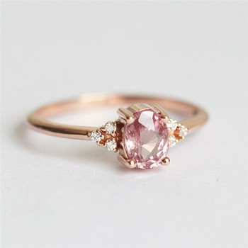ROMAD Pink CZ Engagement Rings for Women Rose Gold Wedding Ring Dainty Valantine's Gift for Girl Friends Romantic Jewelry R4
