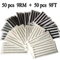 9RM+9FT 50pcs Disposable Tattoo Needles and 50pcs Matched Tattoo Tips Needle with Long black tips tattoo kit free shipping