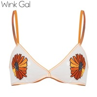 Wink Gal New Sexy Cute Floral Bralette For Women Embroidery Bralet Brassiere Push Up Plunge Lingerie