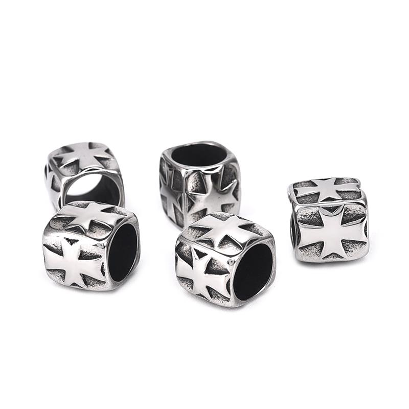 316L Stainless Steel Punk Style Cross Big Hole Beads European Charm Beads For Jewelry Making DIY Men Bracelets Metal Bead
