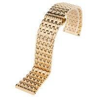 Luxus 18mm/20mm/22mm Gelb Goldene Edelstahl Uhrenarmband-bügel Armband Solide Link Push taste Versteckten Verschluss Ersatz